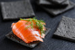 Smoked Salmon on black cracker