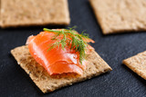 Smoked salmon on wholemeal cracker