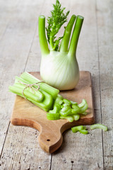 fresh organic celery and fennel