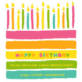 Happy Birthday and Party Invitation Card