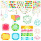 Scrapbook Design Elements - Colorful Geometric Set - in vector