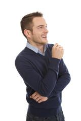 Lachender Business Mann isoliert auf weiß