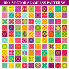 100 Seamless Colorful Patterns Background Collection