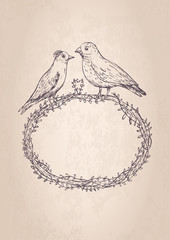 vintage frame with two birds