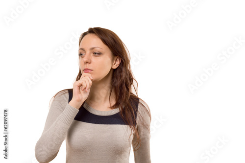 Worried woman with a sombre pensive look