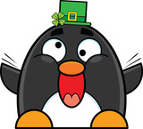 Cartoon Penguin Wearing St. Patrick's Day Hat