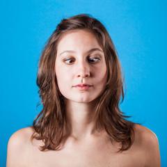 Beautiful Woman on Blue Background