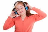 girl  holding the headphones and smile