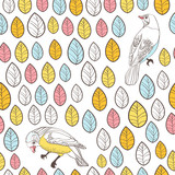 Birds and leaves. Seamless Background. Hand drawn vector
