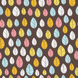 Leaves Seamless Background on dark. Hand drawn vector