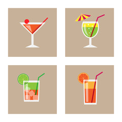 Cocktail Icon Set. Vector
