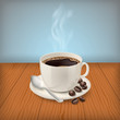Cup with black classic espresso on the table