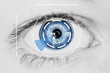 Leinwanddruck Bild - Security Iris Scanner on Blue Human Eye