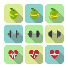 Fitness sport exercises progress icons set