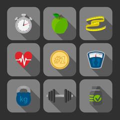Fitness exercises progress icons set