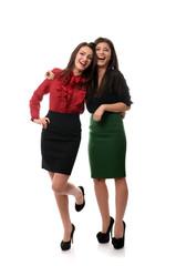 Happy businesswomen couple laughing