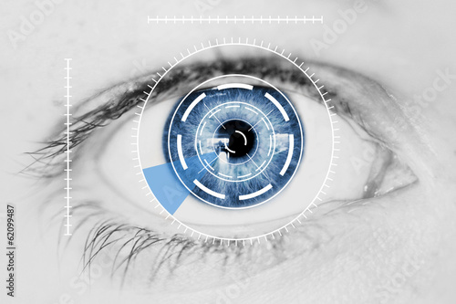 Leinwanddruck Bild Security Iris Scanner on Blue Human Eye