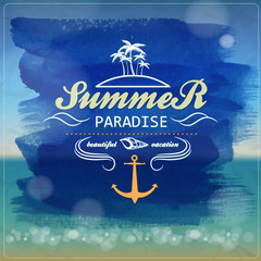 Seaside view poster. Vector summer  background.