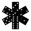 Domino black set vector illustration on white background