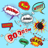 Comic speech bubbles design elements collection