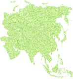 Decorative map of Asia. Mosaic of green squares