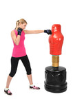 Young Boxing Lady with Body Opponent Bag Mannequin
