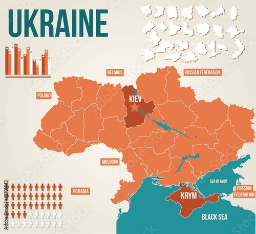 Ukraine political map - vector map
