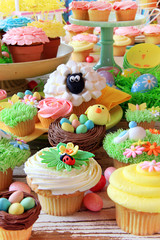 Easter cupcakes and Easter eggs. Also available in horizontal.