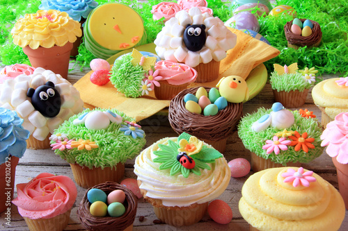 Easter cupcakes and Easter eggs. Also available in vertical.