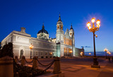 Almudena cathedral at Madrid in night. Spain
