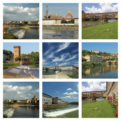 collage with  images of Arno river in Florence, Tuscany