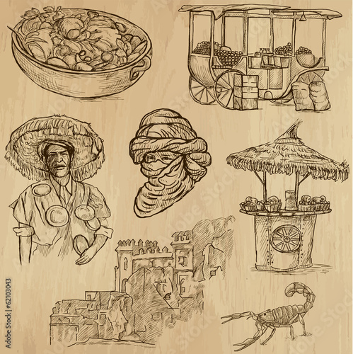 MORROCO_1. Collection of hand drawn illustrations into vector