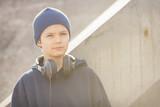 Young boy with headphones in vintage look
