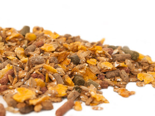 sportive muesli  with herbs background for horse . close up