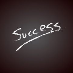 Success handwritten with white chalk on a blackboard vector