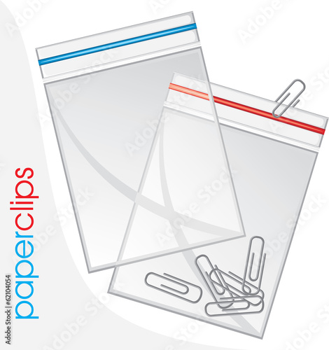 Paperclips in plastic bag isolated on the white