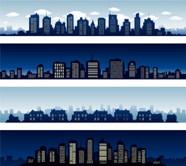 City panoramas buildings at night and day