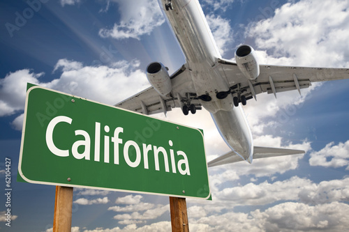 California Green Road Sign and Airplane Above