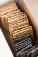 Wholemeal and charcoal crackers