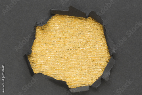 hole and golden background