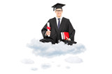 Male college graduate holding diploma and books seated on cloud