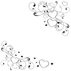 Ornament in Schwarz weiß mit Herz