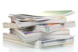 stacks of magazines isolated on white