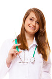 Doctor or nurse holds a syringe, healthcare concept