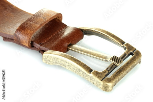 women brown leather belt isolated on white.