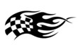 Flaming black and white checkered flag tattoo