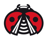 Cute little red spotted cartoon ladybug icon