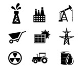 Set of black and white industrial icons