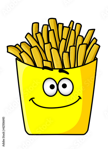 Delicious golden crispy French fries in a packet