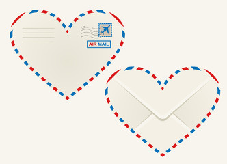 Heart shaped heart airmail envelope